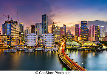 Miami, Florida, Skyline - Miami, Florida, USA skyline on...