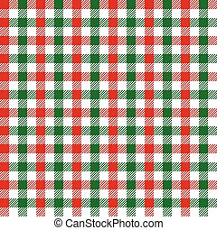 Seamless Red and Green Christmas Gingham Pattern