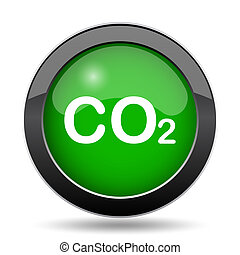 CO2 icon, green website button on white background.