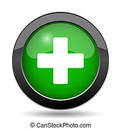 Medical cross icon, green website button on white...
