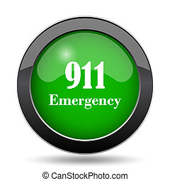 911 Emergency icon, green website button on white...