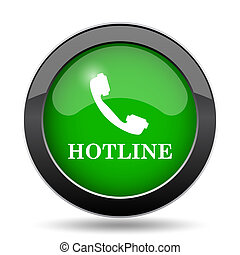 Hotline icon, green website button on white background.