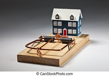 House Trap - House sitting on large mouse trap - luring...