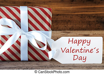 Present With Label, English Text Happy Valentines Day -...