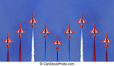 The Red Arrows - The red arrows display formation Cornwall...