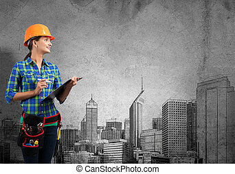 My development plan - Engineer woman with folder and...