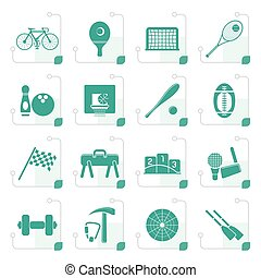 Stylized Simple Sports gear and tools icons - vector icon...