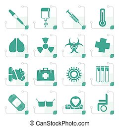Stylized collection of  medical themed icons and warning-signs