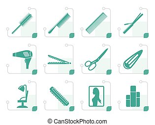 Stylized hairdressing, coiffure and make-up icons - vector...