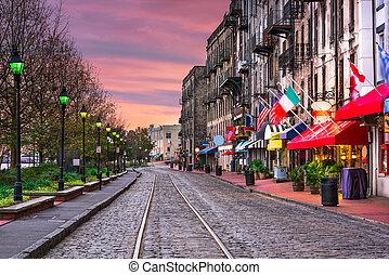 River Street in Savannah Georgia - Savannah, Georgia, USA...