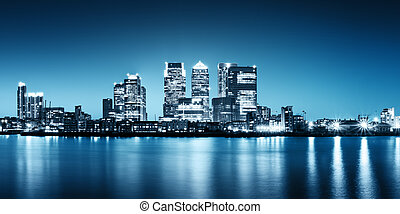 Canary Wharf view from Greenwich - Panoramic picture of...