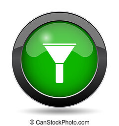 Filter icon, green website button on white background.
