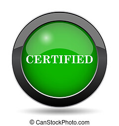 Certified icon, green website button on white background.