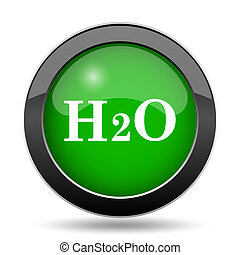 H2O icon, green website button on white background.