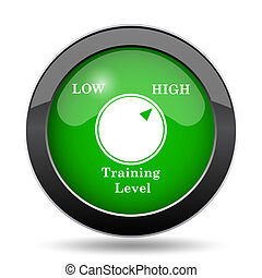 Training level icon, green website button on white...