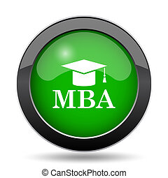 MBA icon, green website button on white background.