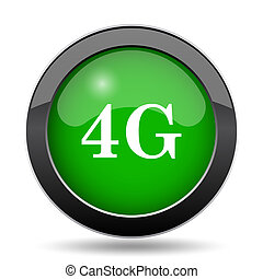 4G icon, green website button on white background.