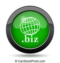 .biz icon, green website button on white background.