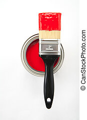 Paint brush with red paint - Black handle paint brush on top...