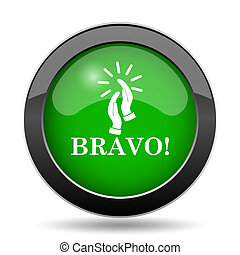 Bravo icon, green website button on white background.