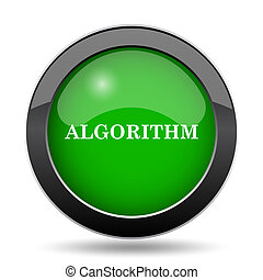 Algorithm icon, green website button on white background.
