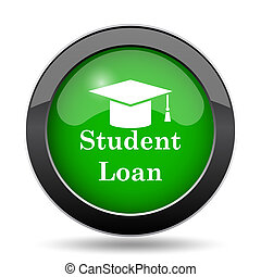 Student loan icon, green website button on white background.