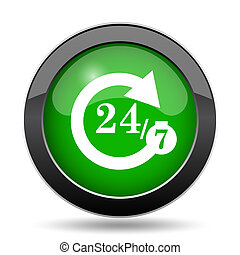 24/7 icon, green website button on white background.