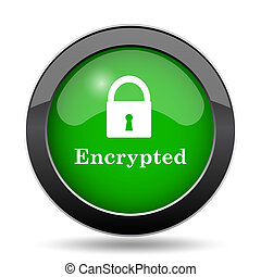 Encrypted icon, green website button on white background.