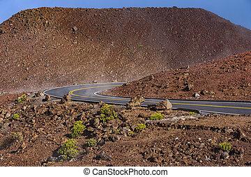 Winding Road atHaleakala National Park Maui Hawaii USA -...