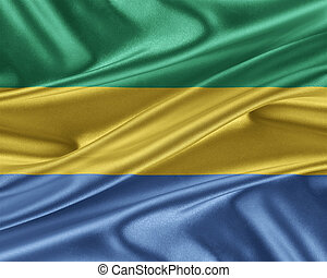 Gabon flag with a glossy silk texture. - Gabon flag. Flag...