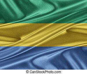 Gabon flag with a glossy silk texture. - Gabon flag. Flag...