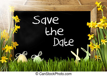 Sunny Narcissus, Easter Egg, Bunny, White Text Save The Date...