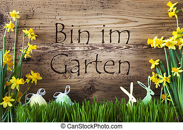 Easter Decoration, Gras, Im Garten Means In The Garden -...