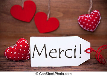 Read Hearts, Label, Merci Means Thank You - Label With...