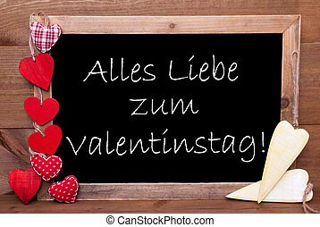Chalkbord, Hearts, Valentinstag Means Valentines Day -...