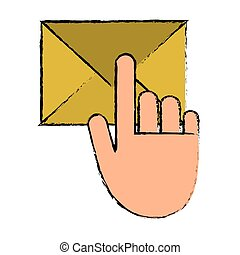 hand touch envelope email message sketch vector illustration...