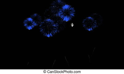 3D Render Multiple Fireworks Blue Sharp Vibrant Clean 4K ver. 31
