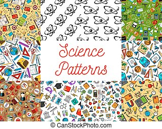 Science seamless patterns. Vector pattern of scientifical...