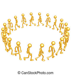 Group Walking In A Circle - A Concept And Presentation...