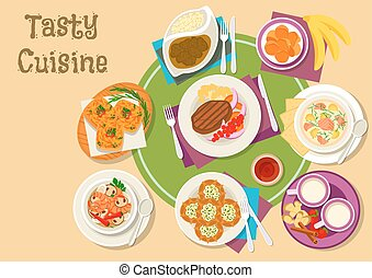 Thai and finnish cuisine dishes with dessert icon - Thai and...