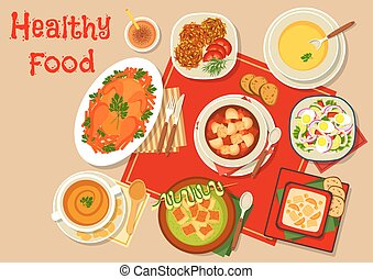 Main dishes of dinner icon for menu design - Main dishes of...
