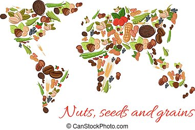 Nuts, seeds and grains vector world map - World map poster...