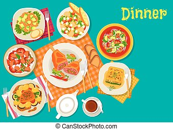 Meat dishes with fresh salads icon design - Meat dishes with...