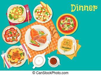 carne, Piatti, disegno, fresco, insalate, icona