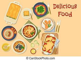 Piatti, ristorante,  menu, cena, disegno, icona