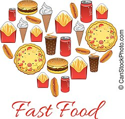 Fast food snacks vector poster