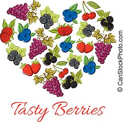 Berries fruits in vector shape of heart