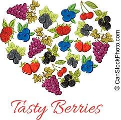 Berries fruits in vector shape of heart