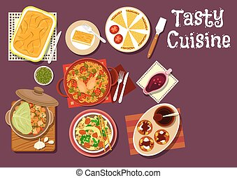 Mediterranean and chinese dinner icon with greek pie with...