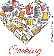 Cooking utensils in heart shape poster - Cooking kitchenware...